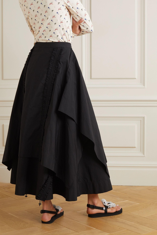 MINJUKIM Draped shirred taffeta maxi skirt