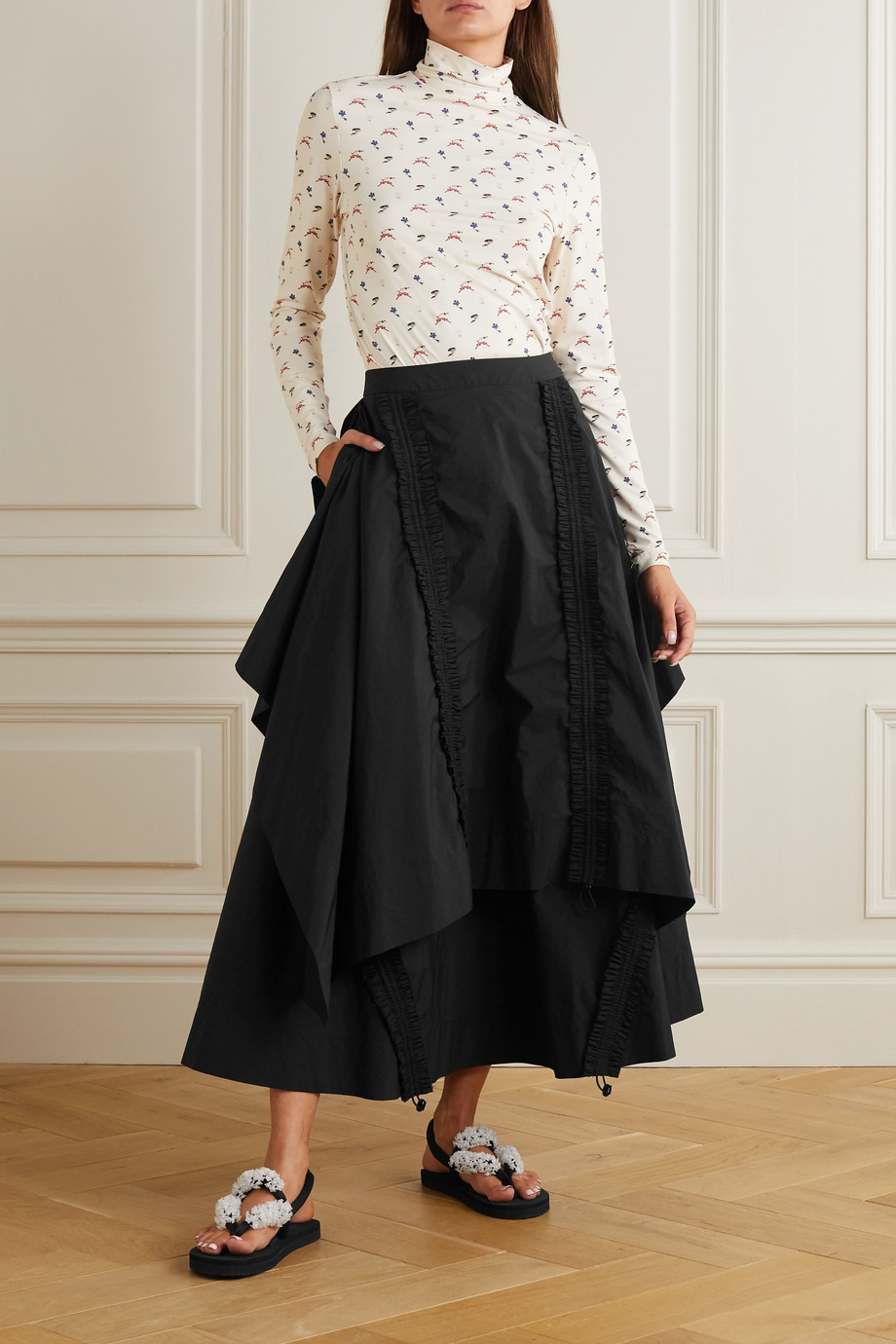 MINJUKIM Draped shirred taffeta maxi skirt