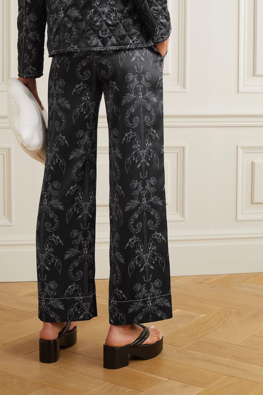 MINJUKIM Printed satin straight-leg pants