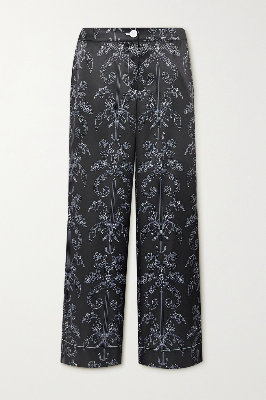 MINJUKIM Printed satin straight-leg pants