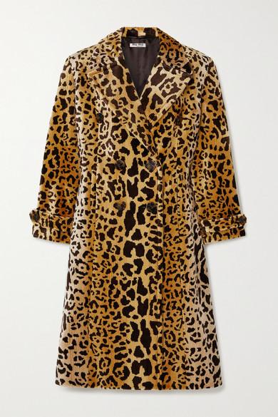 Miu Miu Double-breasted Leopard-print Velvet Coat In Brown