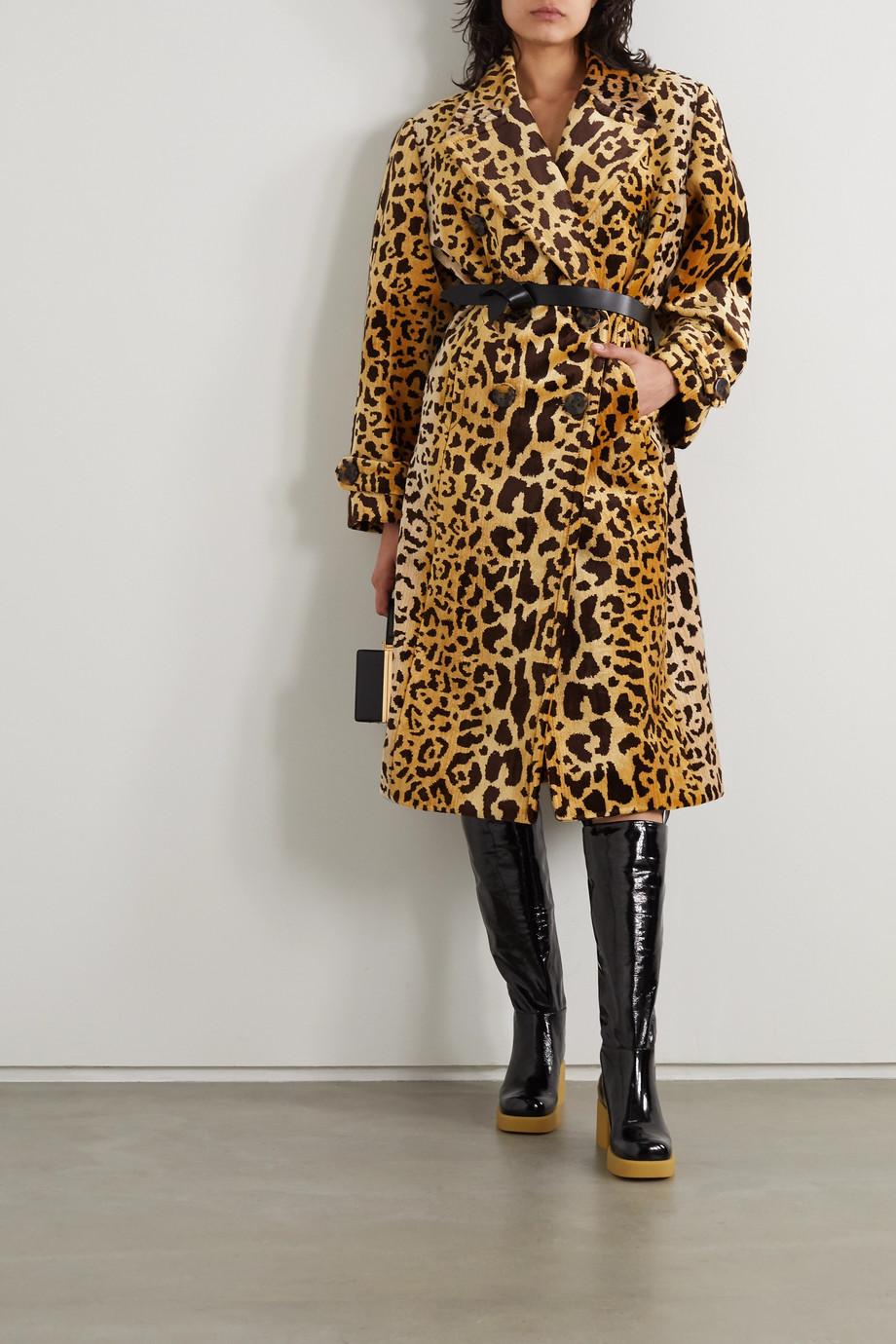 Miu Miu Manteau à double boutonnage en velours à imprimé léopard