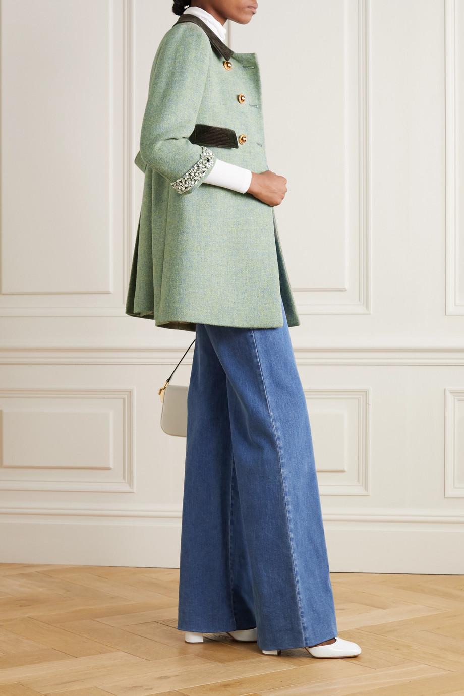 Miu Miu Manteau à double boutonnage en laine à finitions en velours et à cristaux