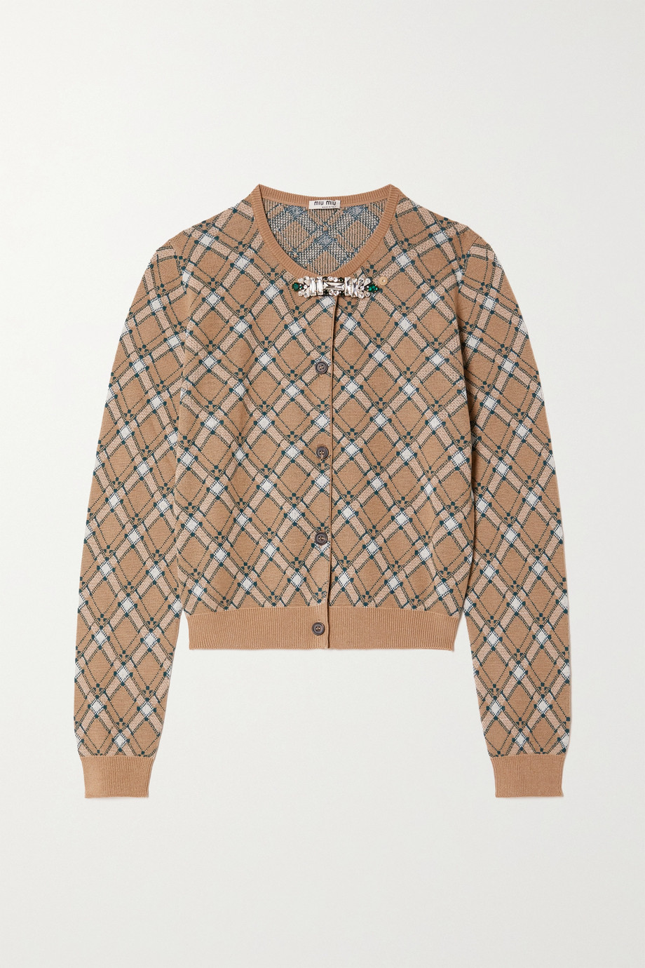 Miu Miu Crystal-embellished checked wool cardigan