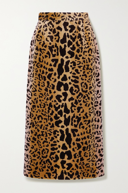 Miu Miu Jupe midi en velours à imprimé léopard
