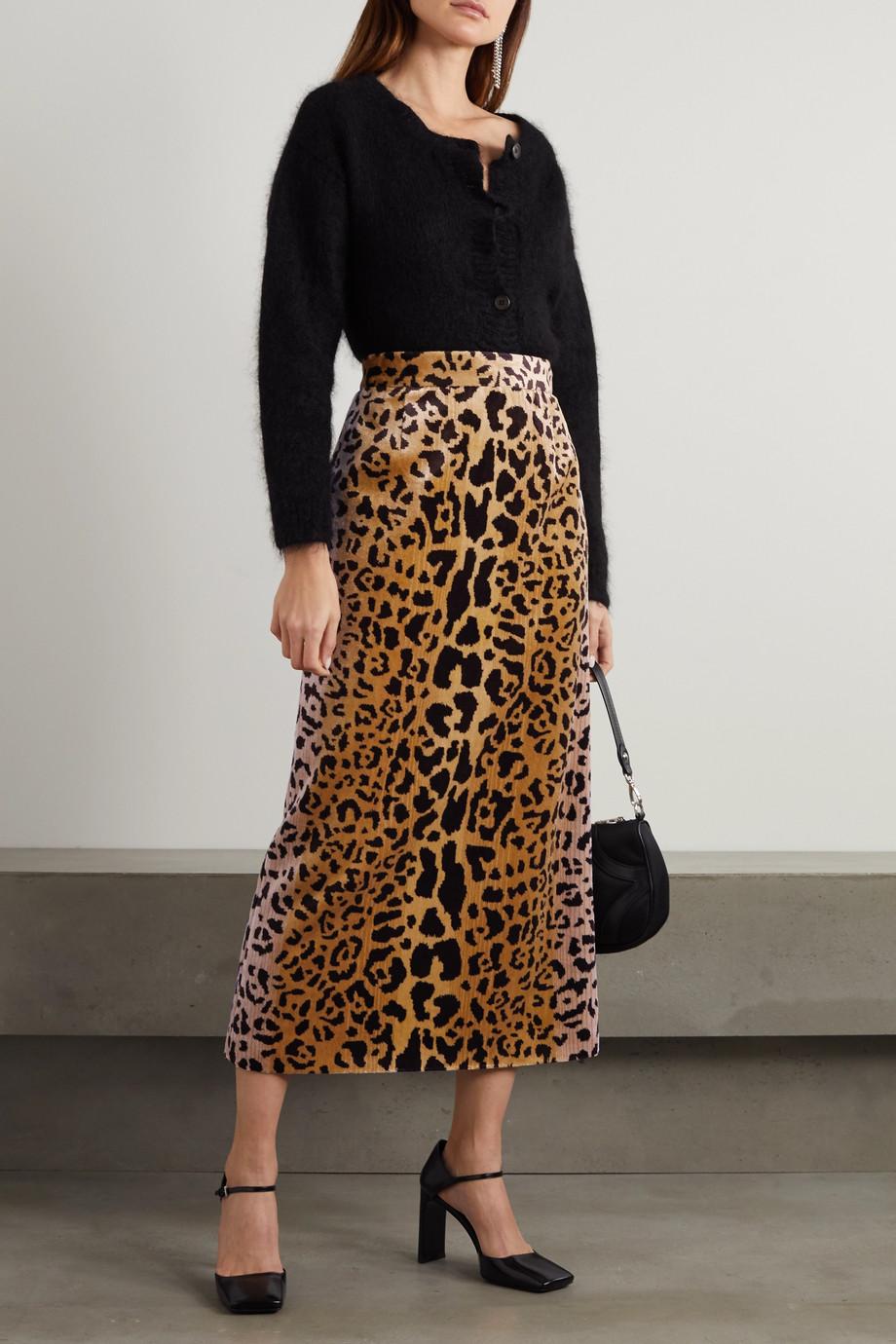 Miu Miu Leopard-print velvet midi skirt