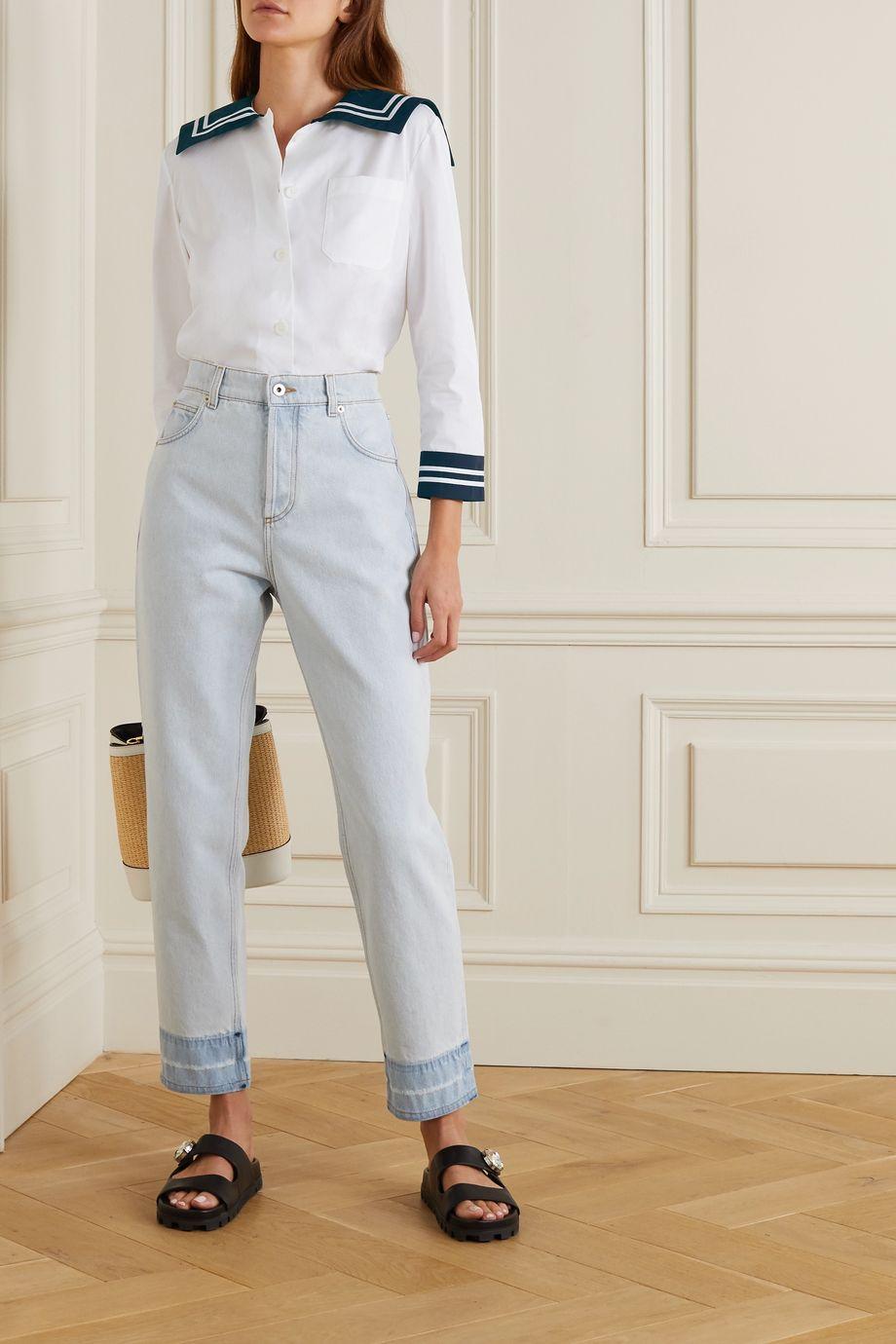 Miu Miu Zweifarbige Bluse aus Baumwollpopeline