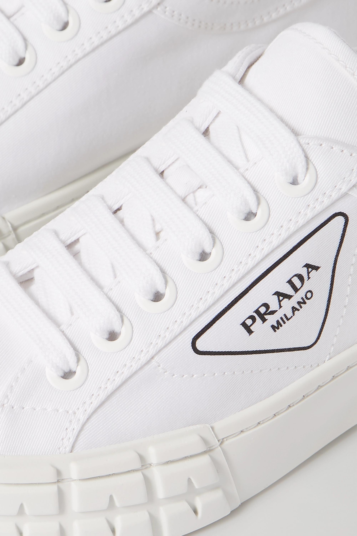 White Logo-print gabardine sneakers