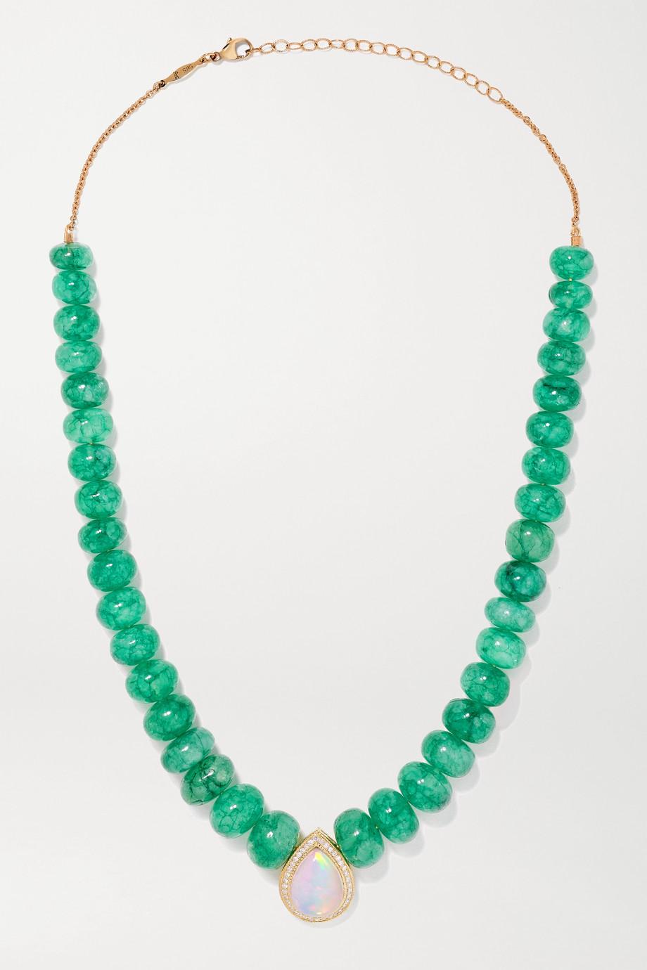 Jacquie Aiche 14-karat gold multi-stone necklace