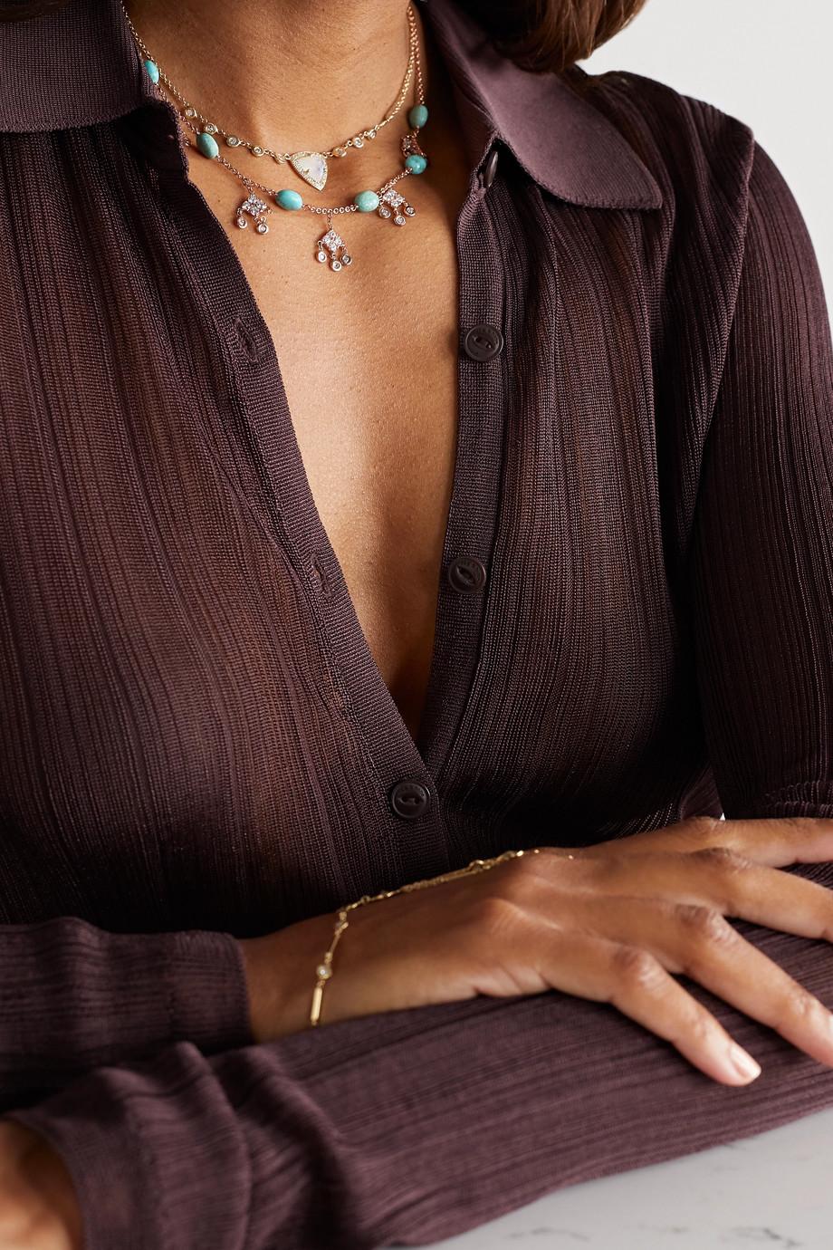 Jacquie Aiche Collier en or rose 14 carats, turquoises et diamants Shaker