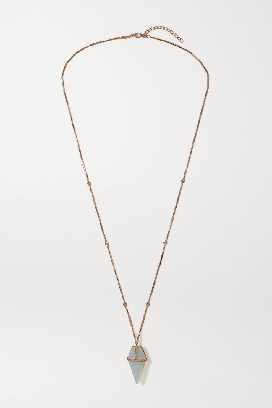 Jacquie Aiche Pendulum Kette aus 14 Karat Roségold mit Opal und Diamanten