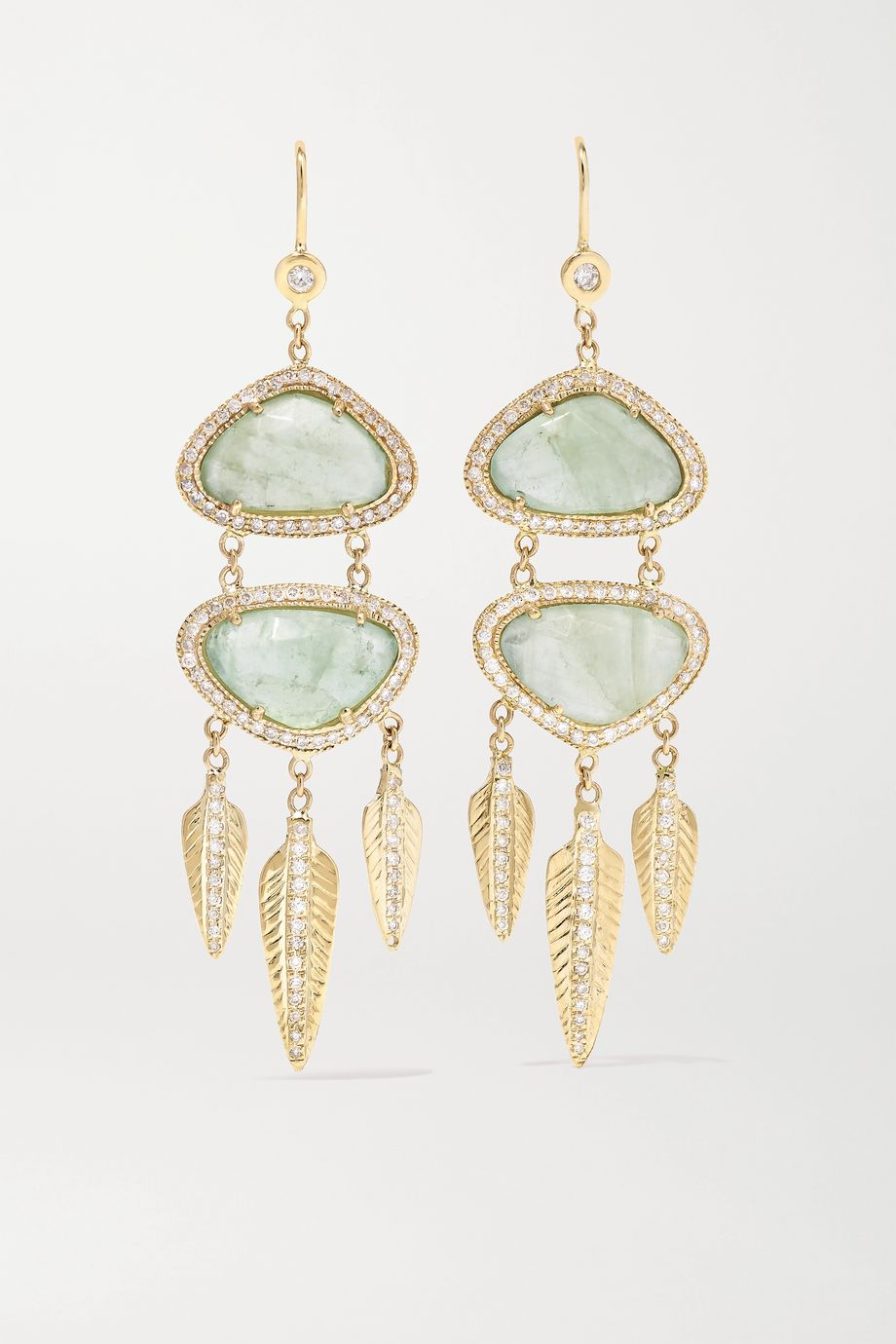 Jacquie Aiche 14-karat gold, calcite and diamond earrings