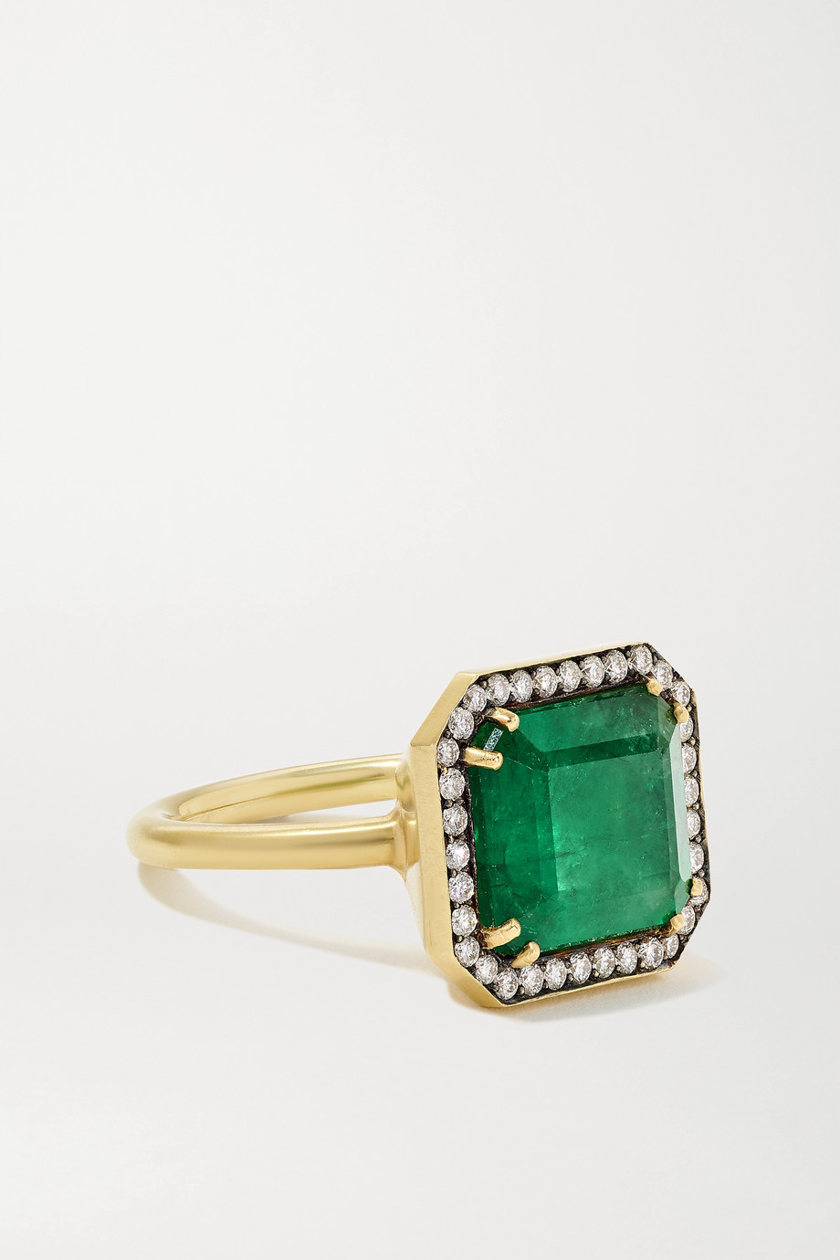 Sylva & Cie 18-karat gold, emerald and diamond ring