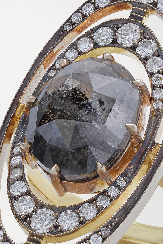 Sylva & Cie Orbit Ring aus 18 Karat Weiß- und Gelbgold mit Diamanten