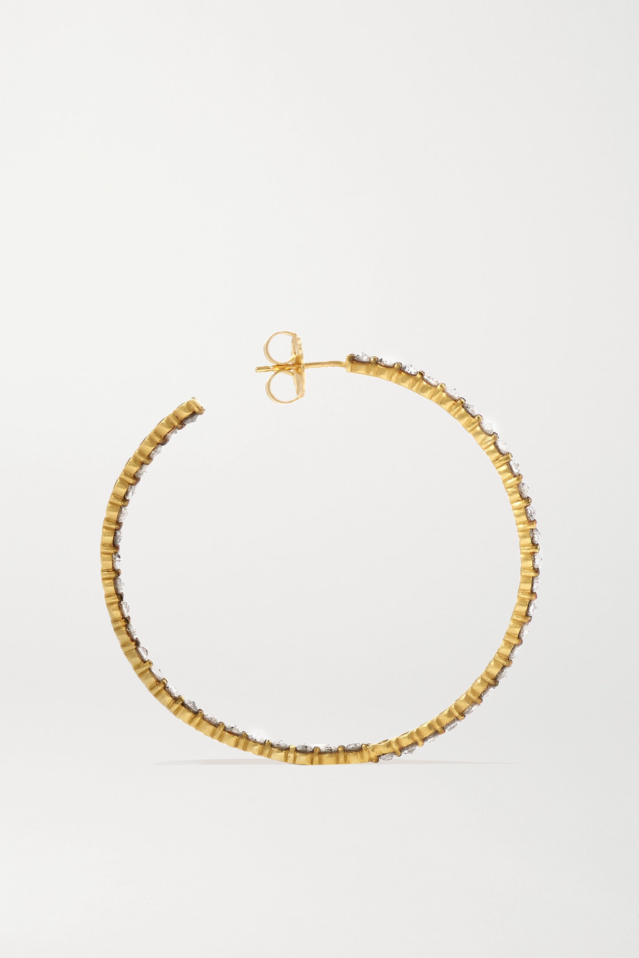 Sylva & Cie 18-karat gold multi-stone hoop earrings
