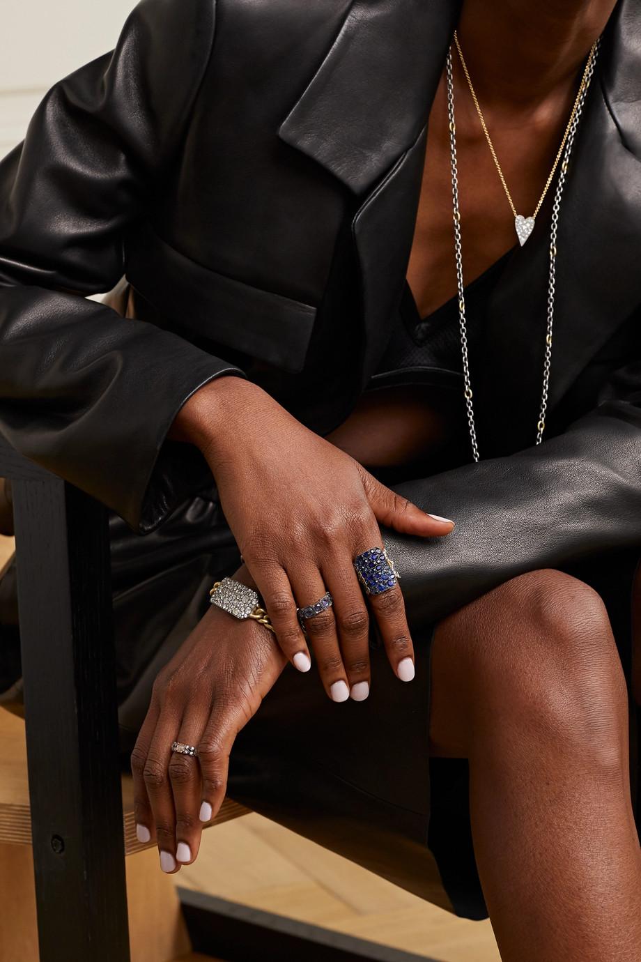 Sylva & Cie 18-karat gold, diamond and sapphire ring