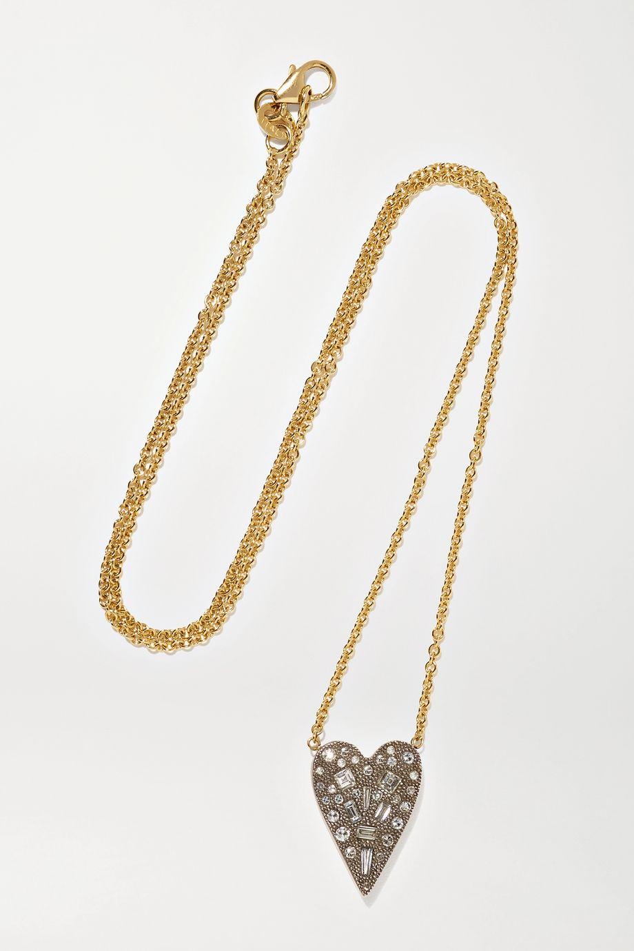 Sylva & Cie 18-karat gold and oxidized sterling silver diamond necklace