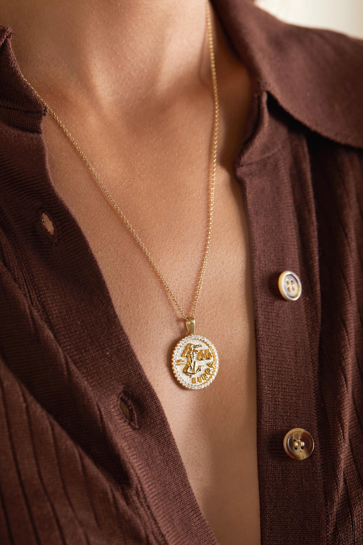 Anita Ko Zodiac large 18-karat gold diamond necklace