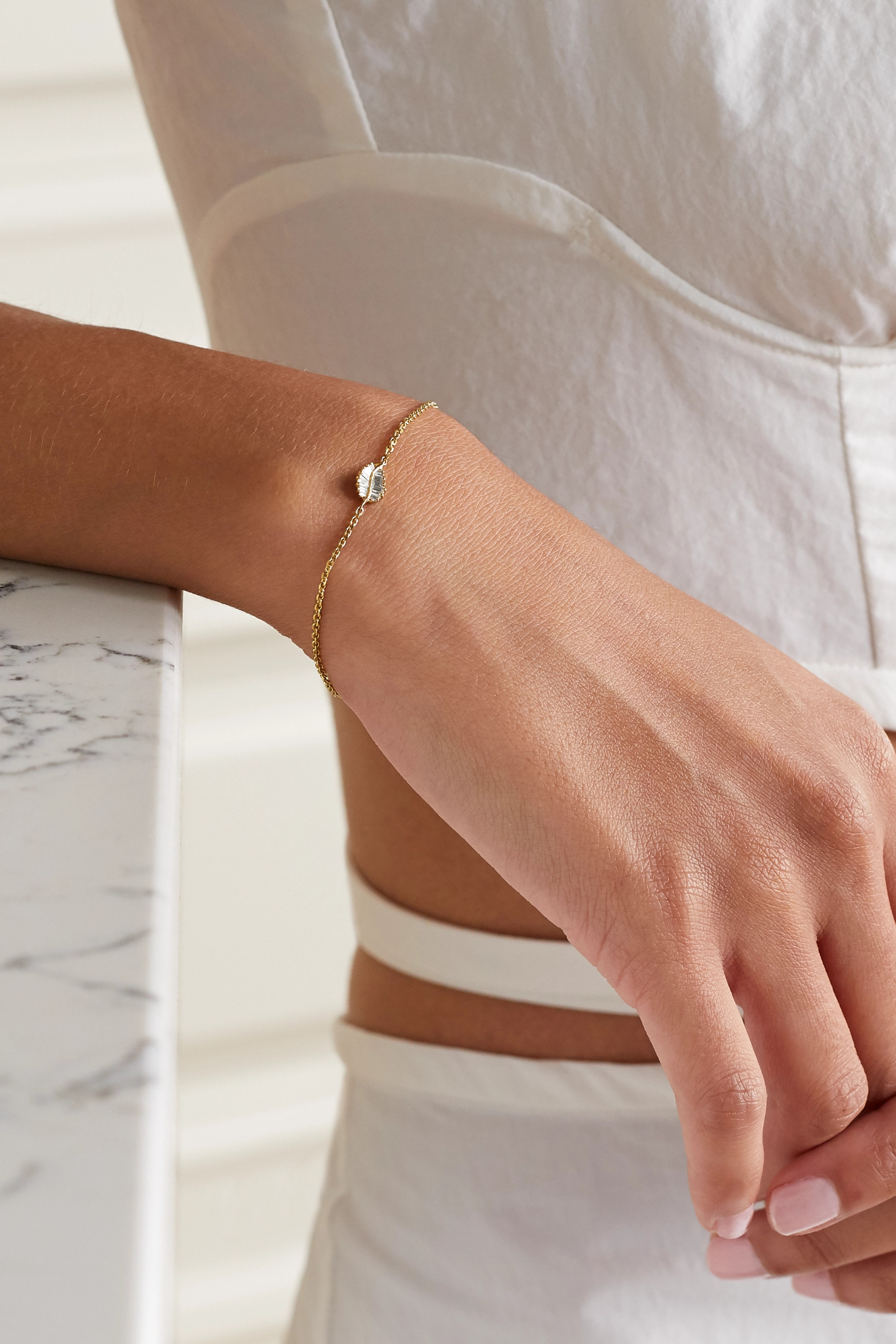Anita Ko Bracelet en or 18 carats et diamants Palm Leaf