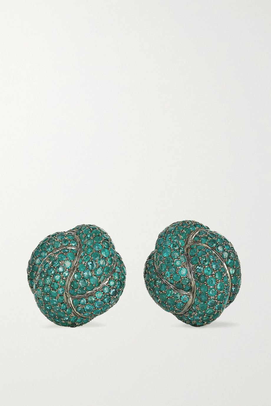 Lorraine Schwartz 18-karat blackened white gold emerald clip earrings