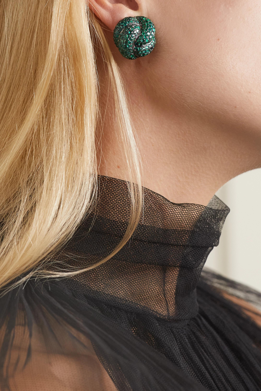 Lorraine Schwartz 18-karat blackened white gold emerald clip earrings