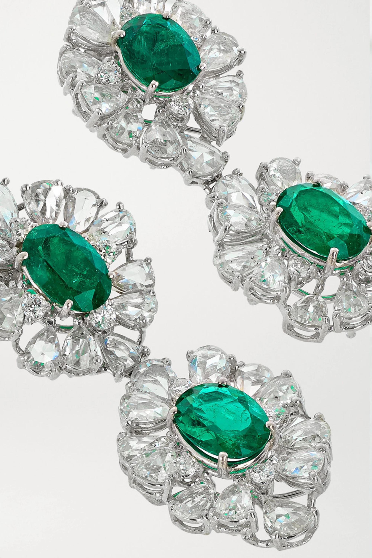 Lorraine Schwartz 18-karat white gold, diamond and emerald earrings