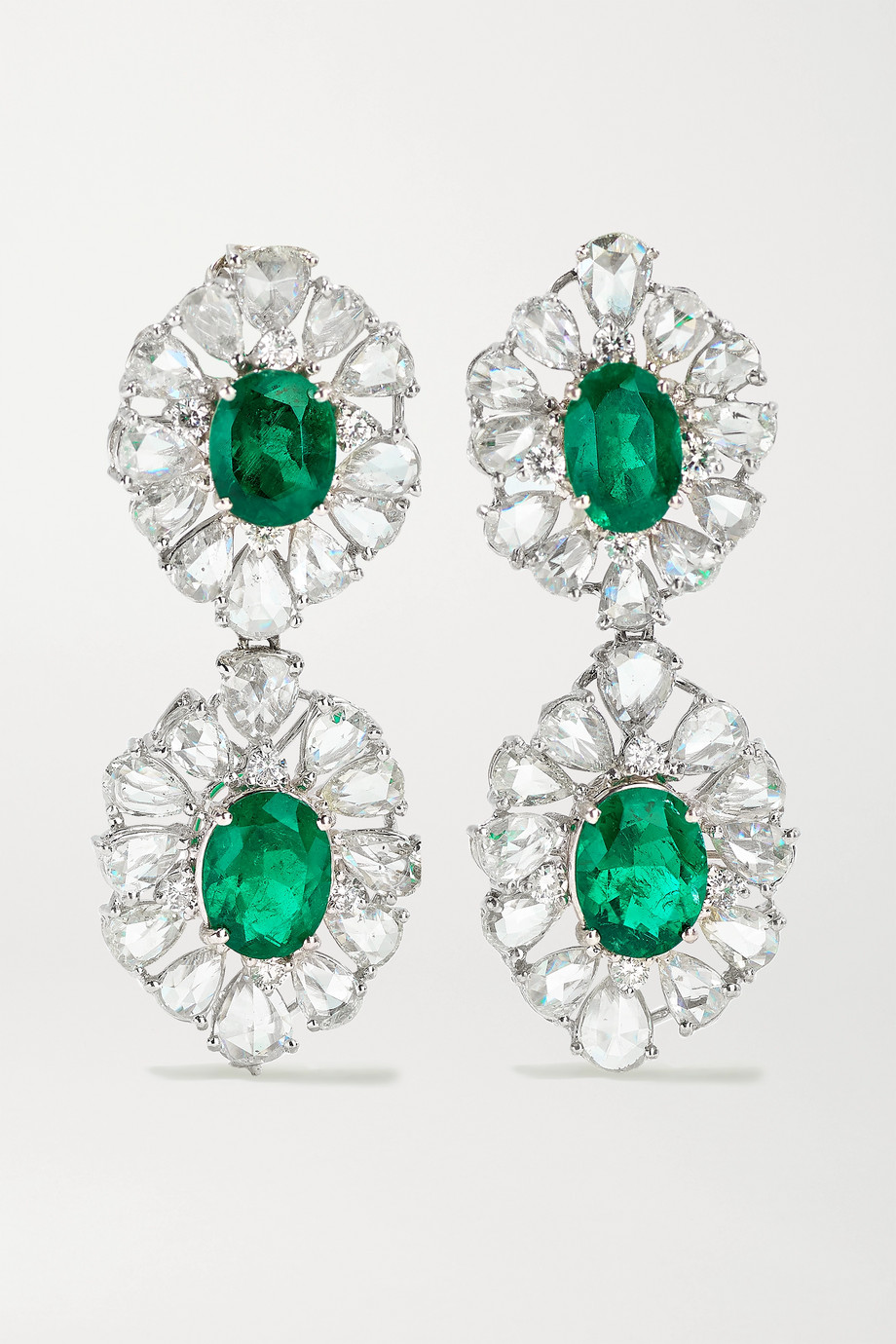 Lorraine Schwartz 18-karat white gold, diamond and emerald earrings