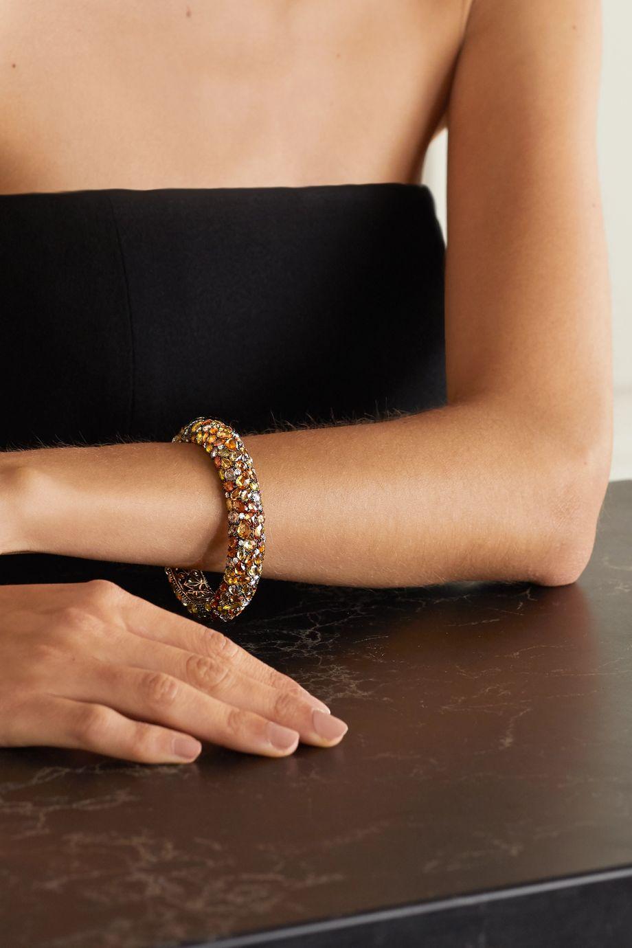 Lorraine Schwartz 18-karat blackened white gold, sapphire and diamond bracelet