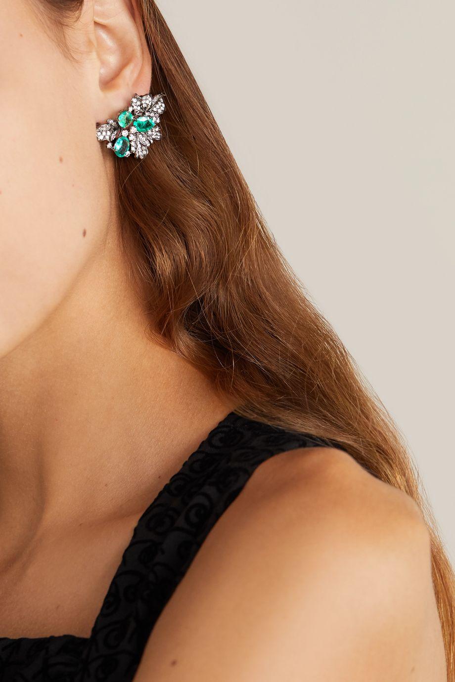 Lorraine Schwartz Ohrringe aus geschwärztem 18Karat Weißgold mit Smaragden und Diamanten