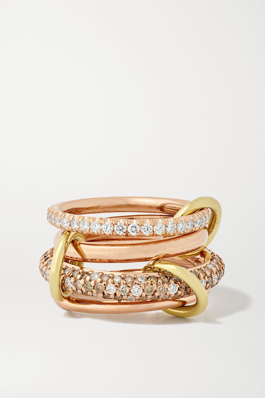 Spinelli Kilcollin Vega set of four 18-karat rose and yellow gold diamond rings