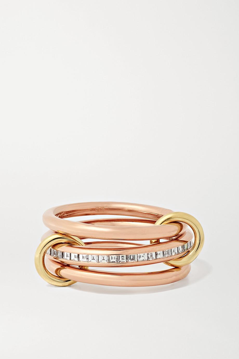 Spinelli Kilcollin Renè set of three 18-karat yellow and rose gold diamond rings