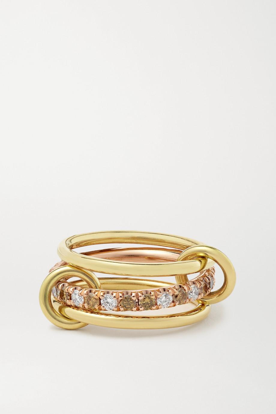 Spinelli Kilcollin Set de trois bagues en or jaune et rose 18 carats et diamants Sonny