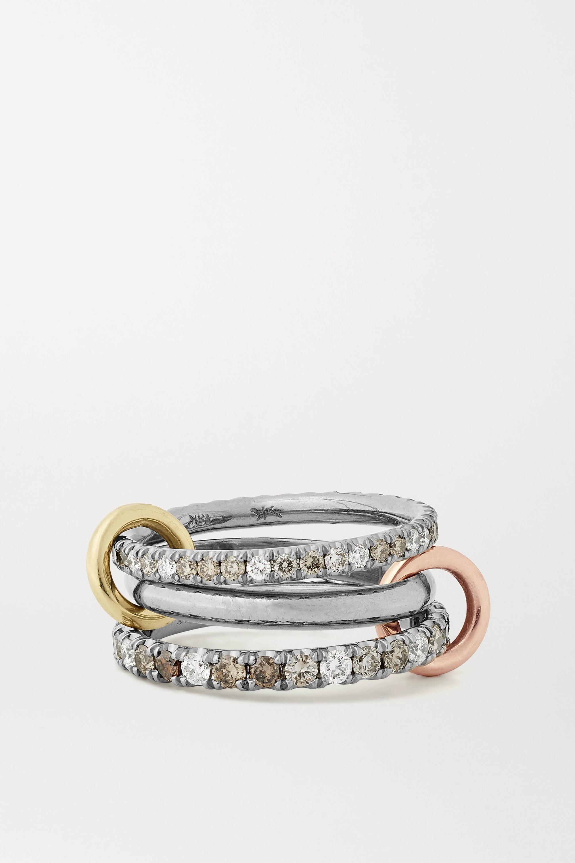 Spinelli Kilcollin Scorpio Deux Set aus drei Ringen aus 18 Karat Gelb-, Rosé- und geschwärztem Gold mit Diamanten