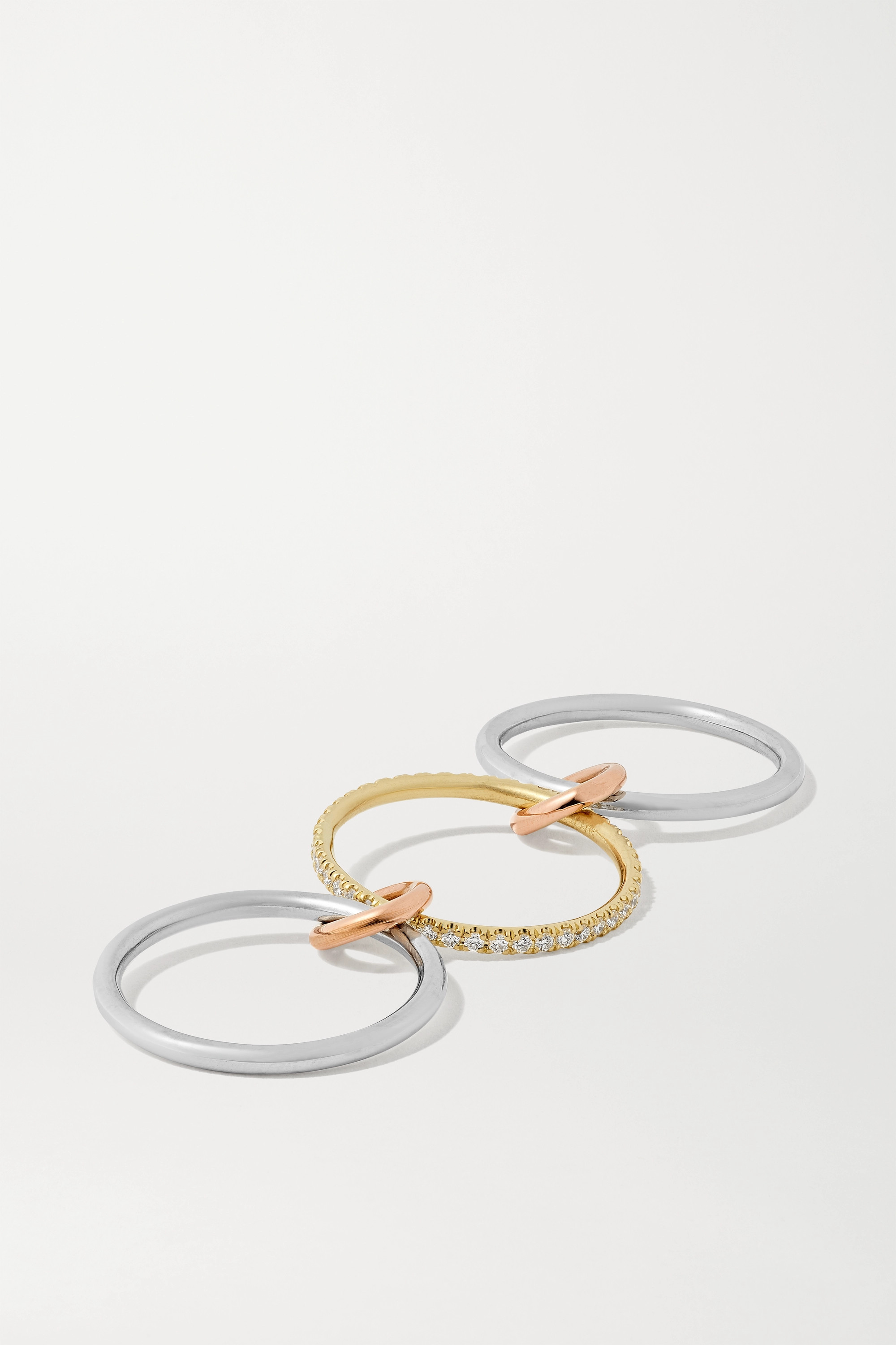Spinelli Kilcollin Sonny MX set of three 18-karat white, yellow and rose gold and diamond rings