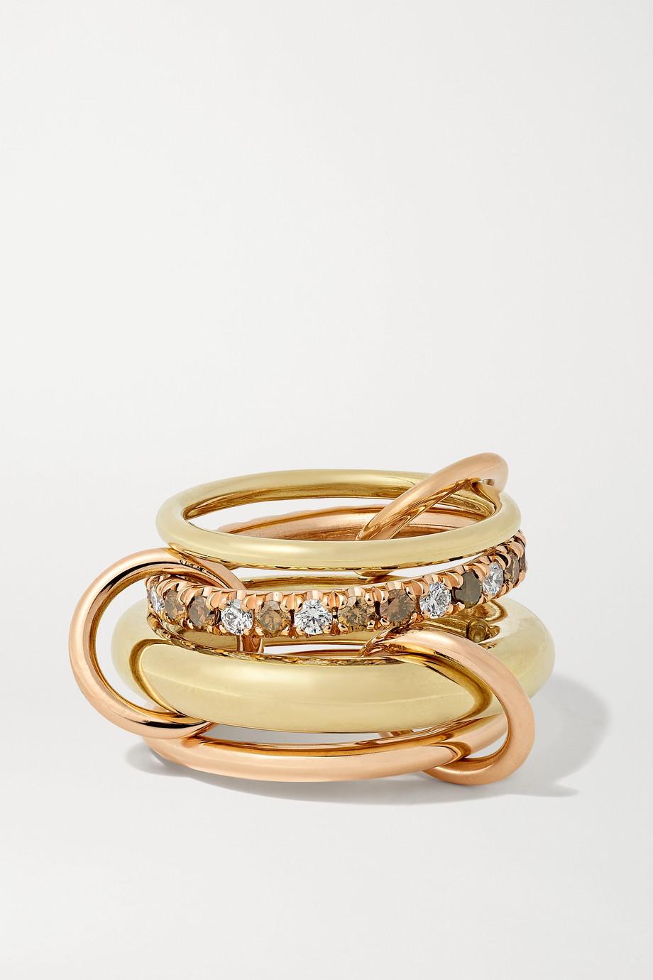 Spinelli Kilcollin Luna Set aus vier Ringen aus 18 Karat Gelb- und Roségold mit Diamanten