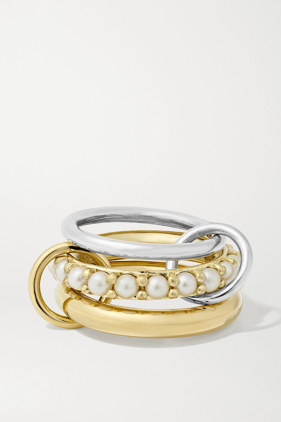 Spinelli Kilcollin Set of three 18-karat gold, sterling silver and pearl rings