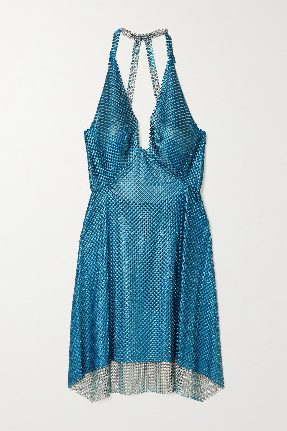 Fannie Schiavoni Mini-robe dos ouvert en cotte de mailles à drapé Tatum