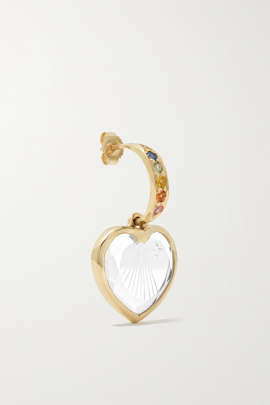 Pascale Monvoisin Gabin N°2 9-karat gold, crystal and sapphire earring