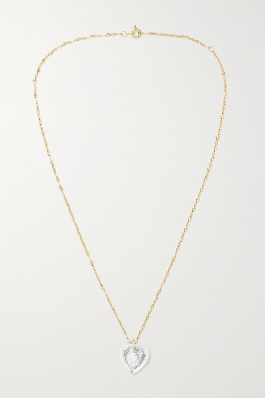 Pascale Monvoisin Gabin N°3 14 and 9-karat gold, crystal and diamond necklace