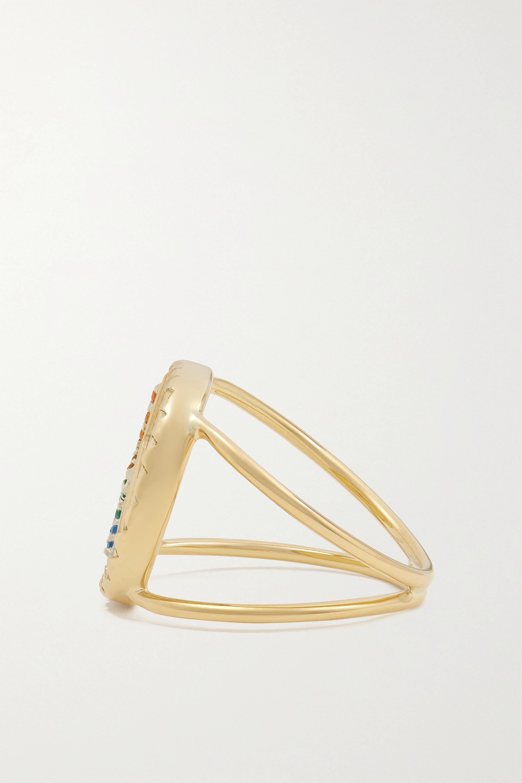 Pascale Monvoisin Varda N°2 9-karat gold, sterling silver, bakelite and Nanogem ring
