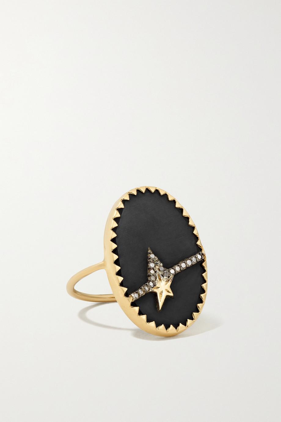 Pascale Monvoisin Varda N°3 Ring aus 9 Karat Gold und Sterlingsilber mit Bakelit® und Diamanten