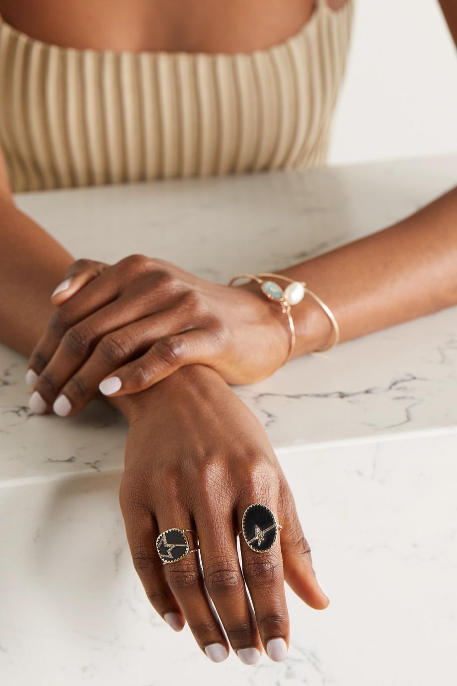 Pascale Monvoisin Varda N°3 9-karat gold, sterling silver, bakelite and diamond ring