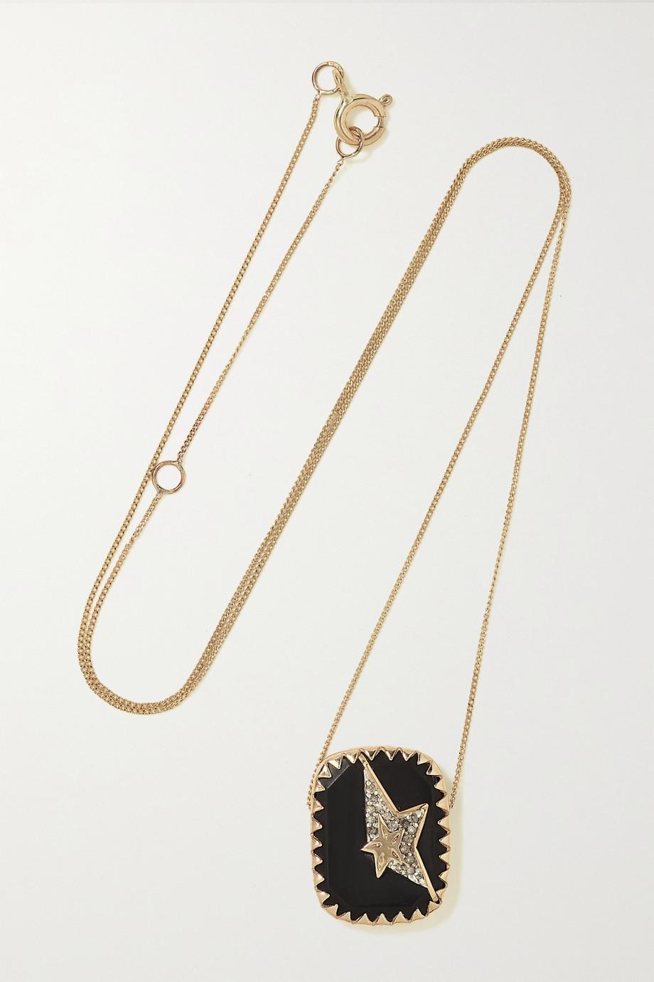 Pascale Monvoisin Varda N°1 Kette aus 9 und 14 Karat Gold mit Sterlingsilber, Bakelit® und Diamanten