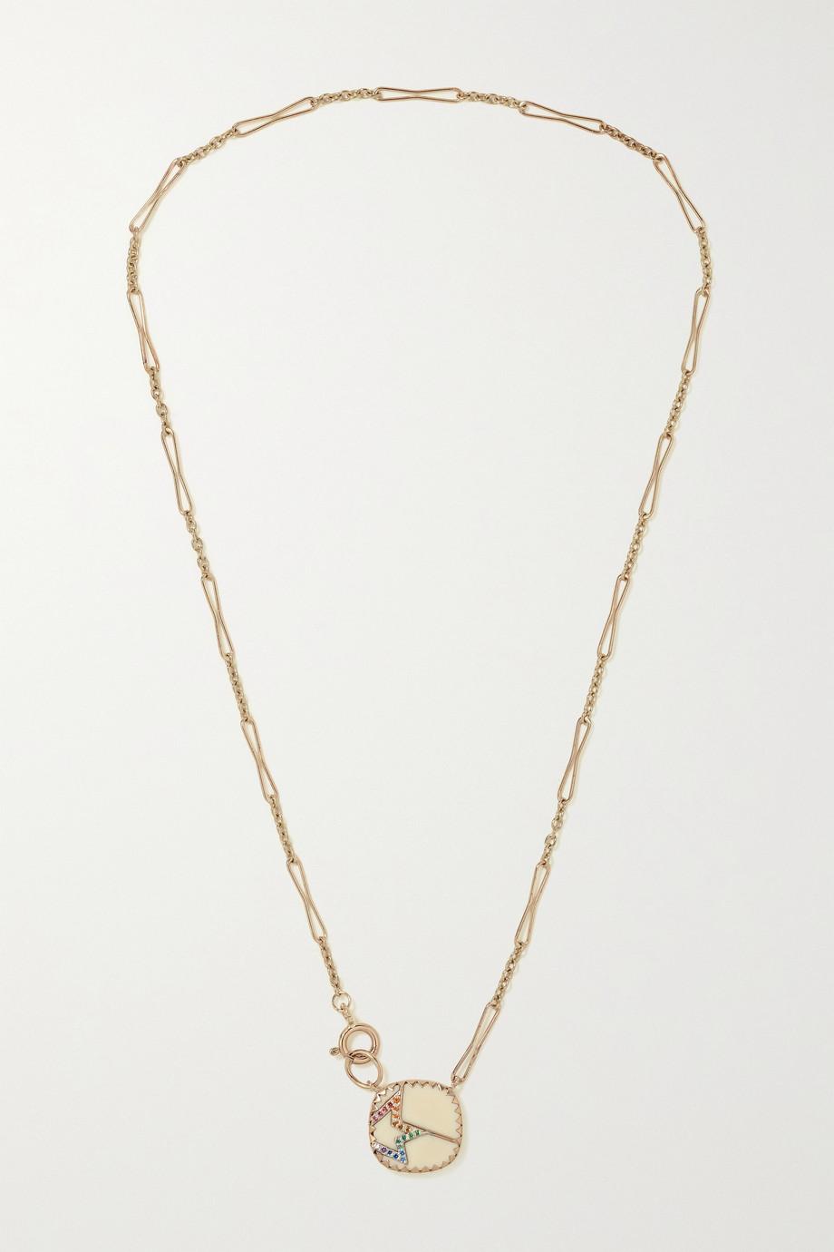 Pascale Monvoisin Varda N°2 Kette aus 9 Karat Gold mit Sterlingsilber, Bakelit® und Nanogem
