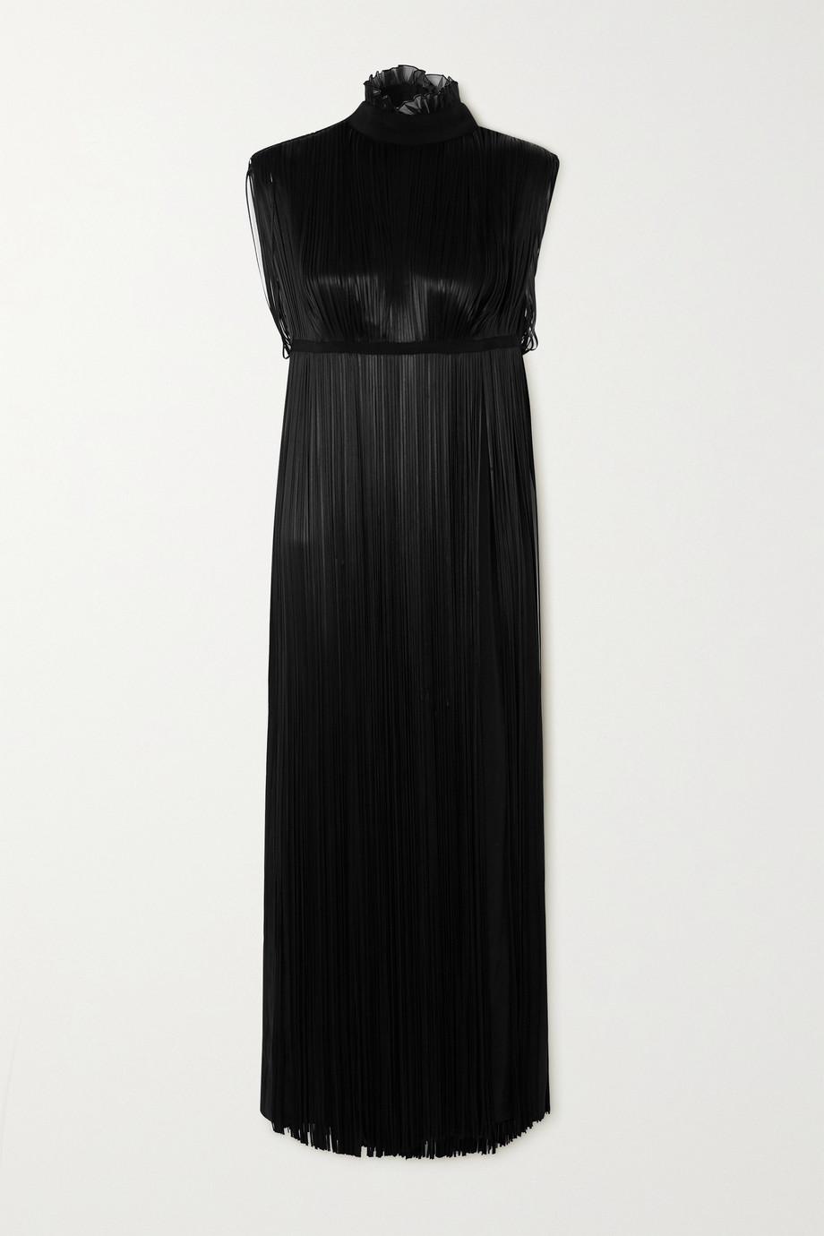 Prada Fringed silk crepe de chine maxi dress