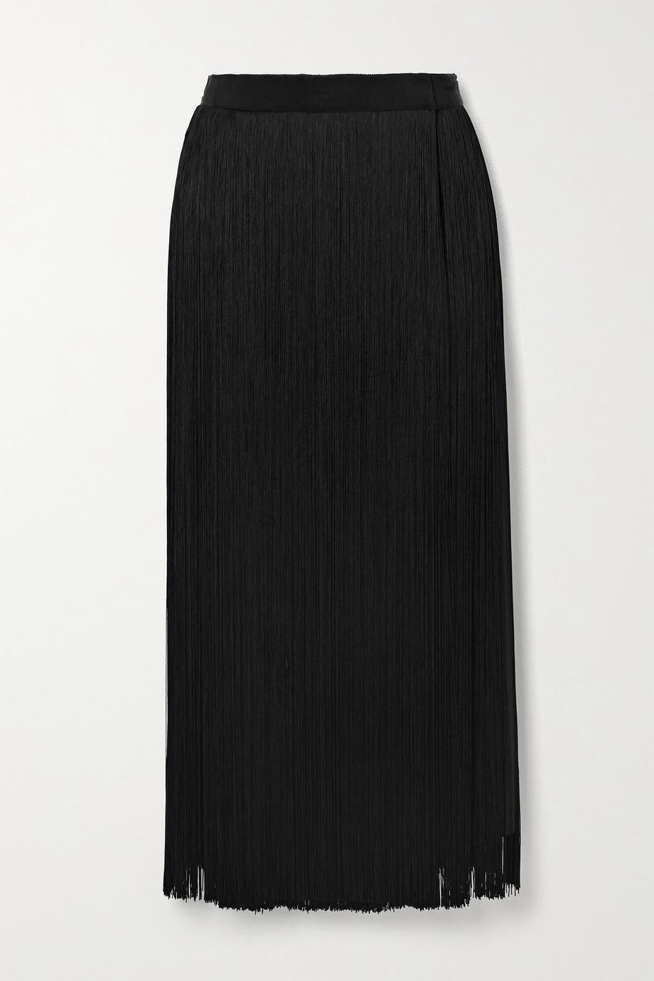 Prada Fringed silk crepe de chine midi skirt