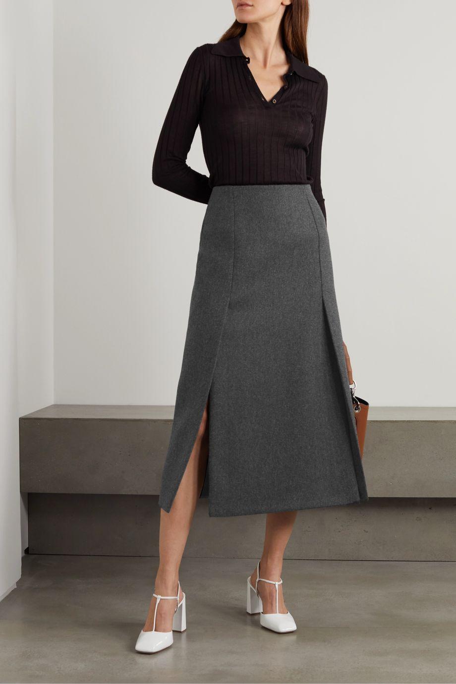 Prada Wool-twill midi skirt