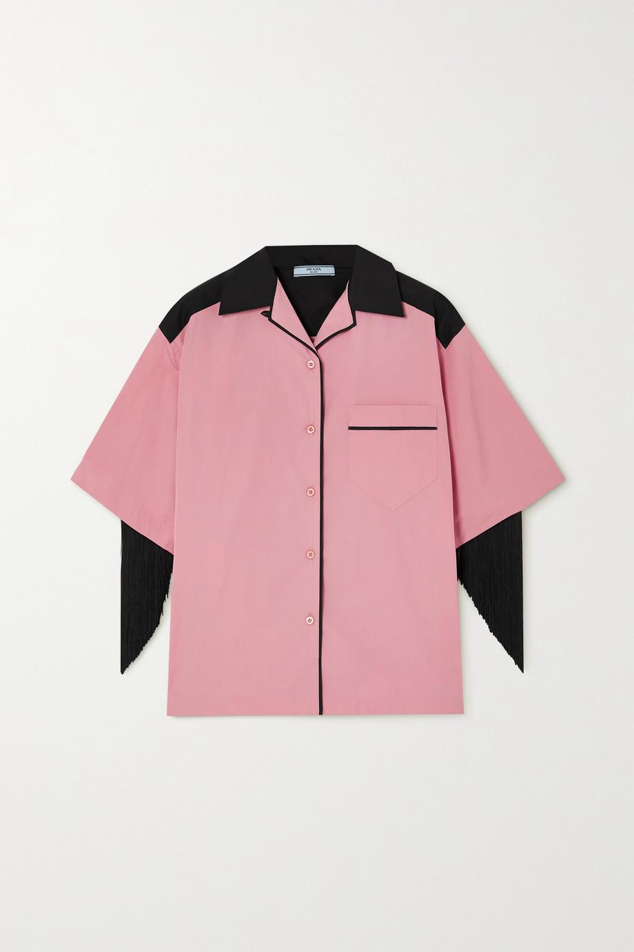 Prada Fringed cotton-poplin shirt