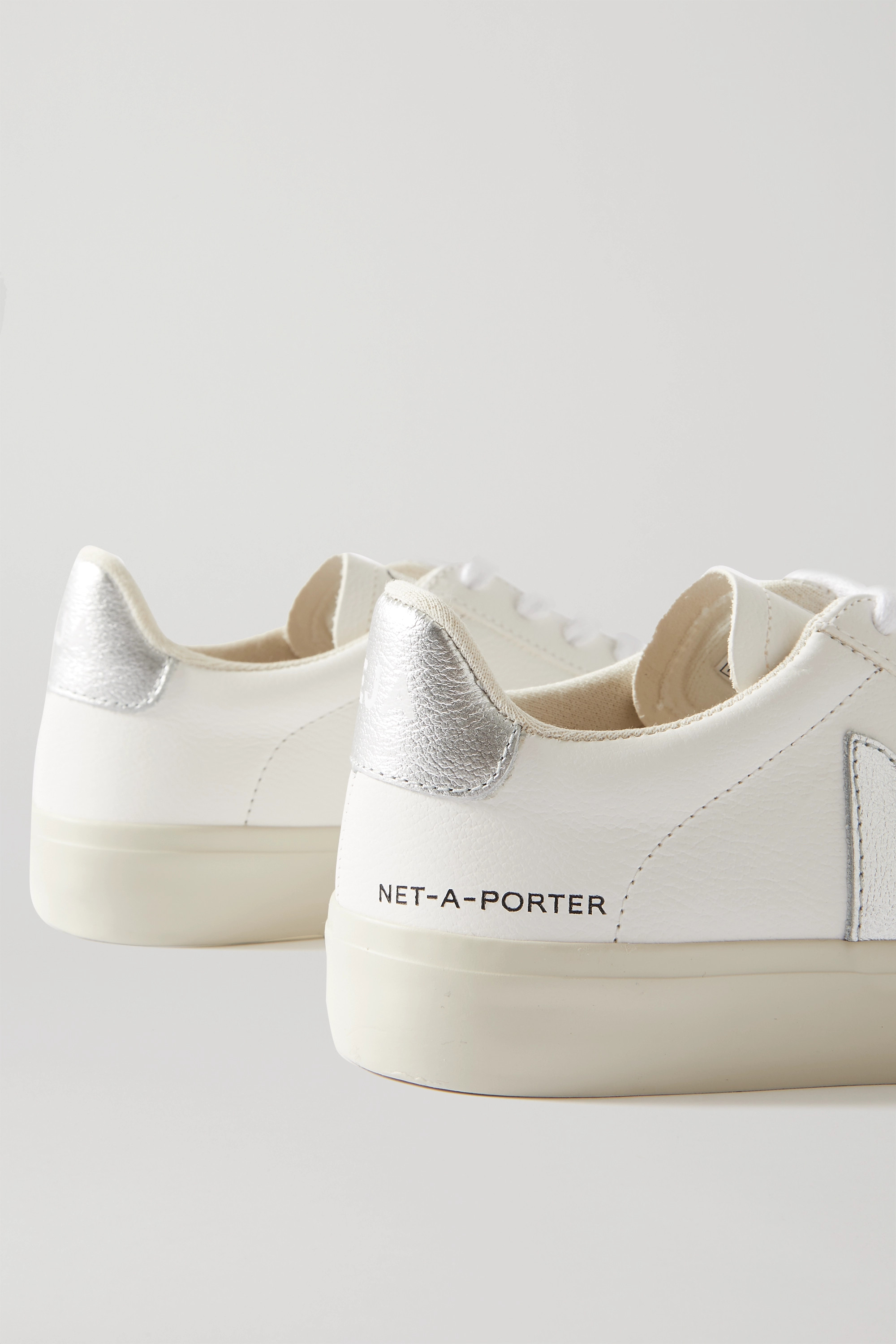 Veja + NET-A-PORTER Campo metallic-trimmed leather sneakers