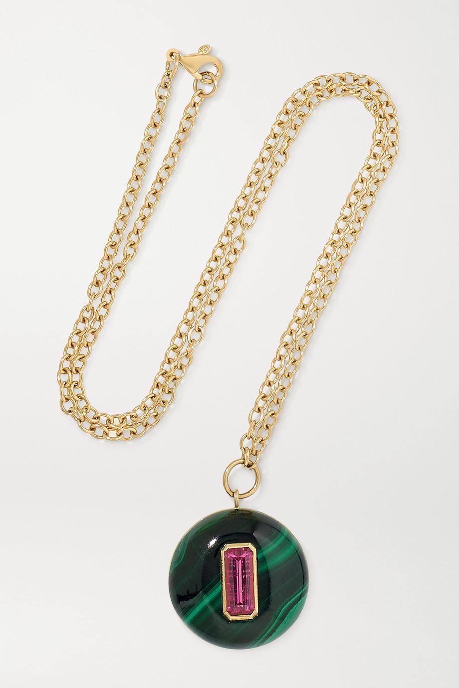 Retrouvaí Lollipop 14-karat gold, malachite and tourmaline necklace